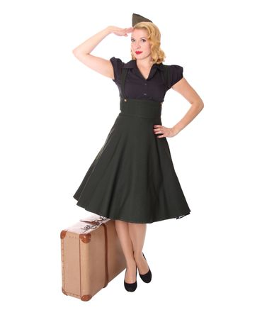 Carlyn 50er retro Military Swing Hosenträger Suspender Uniform Petticoat Kleid v. SugarShock – Bild 2