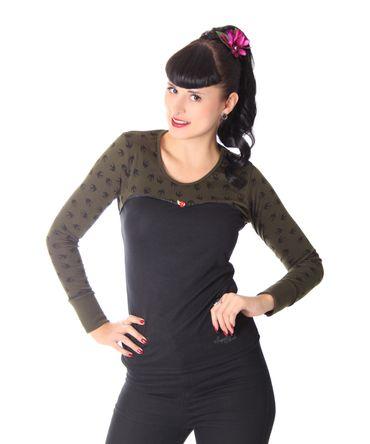 Anni Tattoo Schwalben Rockabilly 2-tone Longsleeve Shirt v. SugarShock – Bild 1