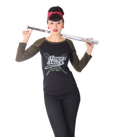 Isabella Baseball Rockabilly 2-tone retro Longsleeve Logo Shirt v. SugarShock – Bild 4