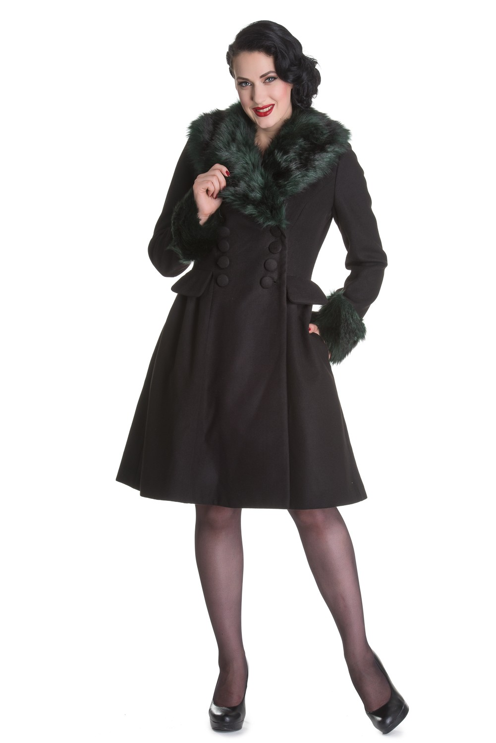 Hell Bunny Rock Noir Rockabilly 50s Pin Up Winter Mantel mit Kunstpelz Besatz