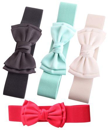 Schleifen Struktur Gummizuggürtel 50s retro Petticoat Bow Stretchgürtel – Bild 1