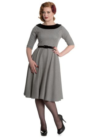 50er Jahre Dogtooth retro Swing Petticoat 3/4 Arm Kleid v. Hell Bunny