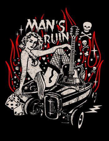 Mans Ruin Männer Pin Up retro T-Shirt v. Rock Steady Clothing  – Bild 2