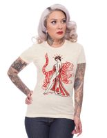 Asian Lady Rockabilly Vintage Style Girlie T-Shirt v. Rock Steady Clothing