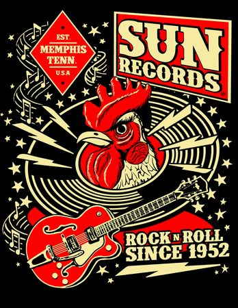 Record Hop Rockabilly Workshirt retro Herren Hemd Worker Shirt v. Sun Records – Bild 3