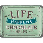 Life Happens chocolate helps - 50er retro Tür Blechschild v. Nostalgic Art