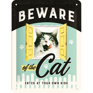 Beware of the Cat retro Spruch Türschild Blechschild v. Nostalgic Art