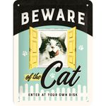 Beware of the Cat retro Spruch Türschild Blechschild v. Nostalgic Art 001
