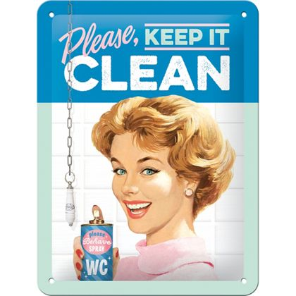 Keep it clean 50s retro Spruch Türschild Blechschild v. Nostalgic Art