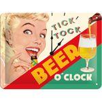 Beer o clock 50s retro Spruch Türschild Blechschild v. Nostalgic Art 001
