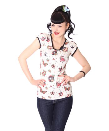 Classic Flash oldschool Tattoo Girl Doll Puffärmel T-Shirt v. Liquor Brand – Bild 1