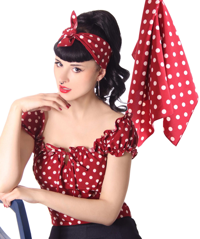 50s Frisuren Polka Dots Retro Nickituch Haarband Hairband Haar Tuch Bandana V Sugarshock