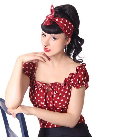 50s Frisuren Polka Dots retro Nickituch Haarband Hairband Haar Tuch Bandana v. SugarShock – Bild 5
