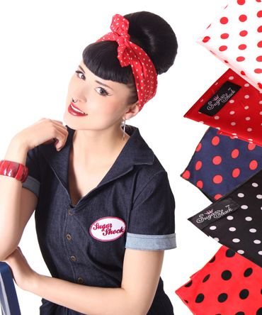 50s Frisuren Polka Dots retro Nickituch Hairband Haar Tuch Bandana v. SugarShock