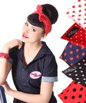 50s Frisuren Polka Dots retro Nickituch Hairband Haar Tuch Bandana v. SugarShock 001