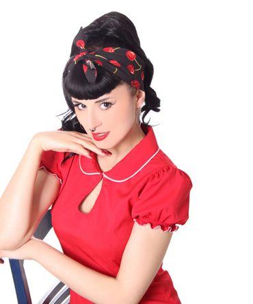 50s Frisuren Kirschen retro Nickituch Cherry Hairband Haar Tuch Bandana v. SugarShock – Bild 5