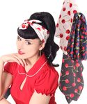 50s Frisuren Kirschen retro Nickituch Cherry Hairband Haar Tuch Bandana v. SugarShock 001