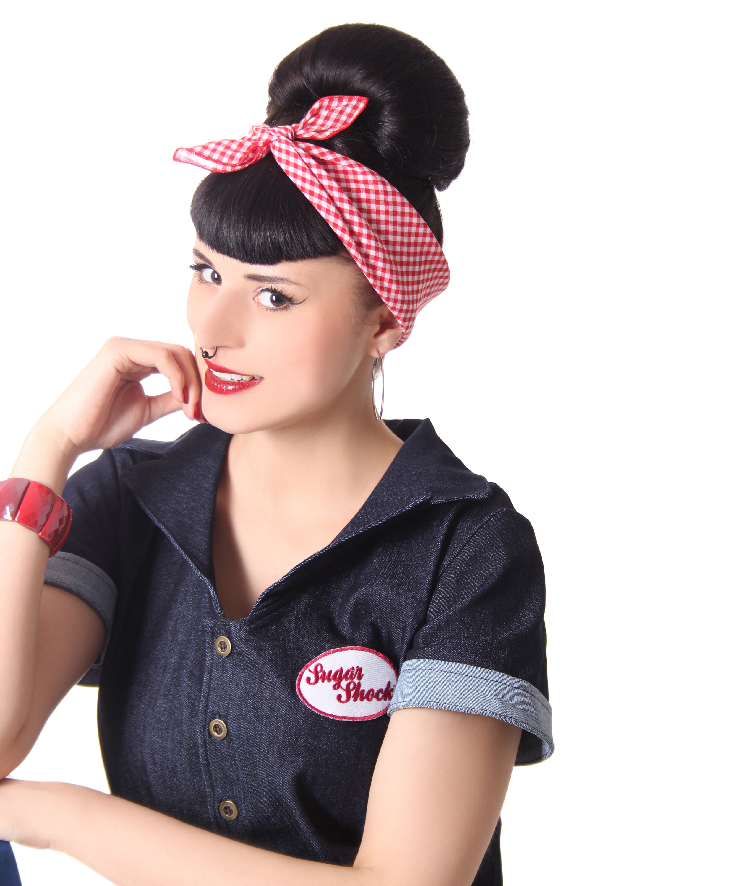 sugarshock 50s retro gingham pin up rockabilly haar tuch. Black Bedroom Furniture Sets. Home Design Ideas