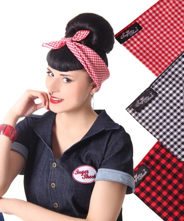 50s Frisuren Gingham retro Nickituch Hairband Haar Tuch Bandana v. SugarShock – Bild 1