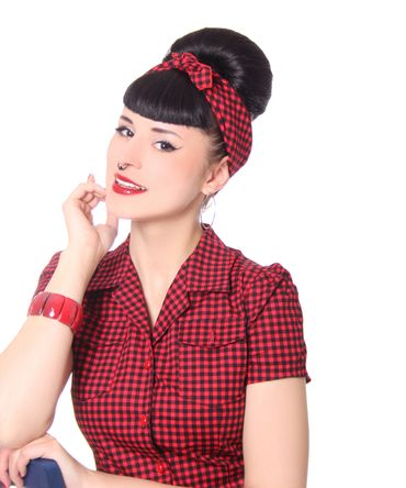 50s Frisuren Gingham retro Nickituch Hairband Haar Tuch Bandana v. SugarShock – Bild 8