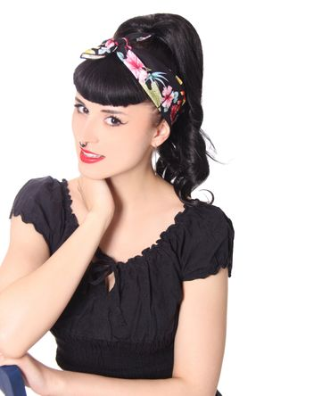 50s Frisuren Hawaii Flower retro Nickituch Hairband Haar Tuch Bandana v. SugarShock – Bild 3