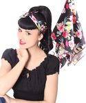 50s Frisuren Hawaii Flower retro Nickituch Hairband Haar Tuch Bandana v. SugarShock 001
