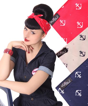 50s Frisuren Anker retro Nickituch Hairband Sailor Haar Tuch Bandana v. SugarShock – Bild 1