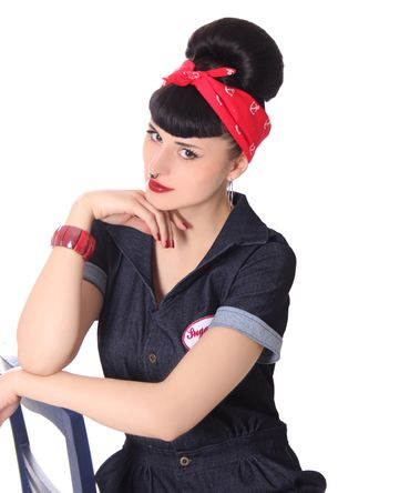 50s Frisuren Anker retro Nickituch Hairband Sailor Haar Tuch Bandana v. SugarShock – Bild 6