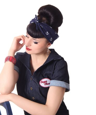 50s Frisuren Anker retro Nickituch Hairband Sailor Haar Tuch Bandana v. SugarShock – Bild 2
