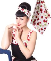 50s Frisuren Strawberry retro Nickituch Hairband Haar Tuch Bandana v. SugarShock
