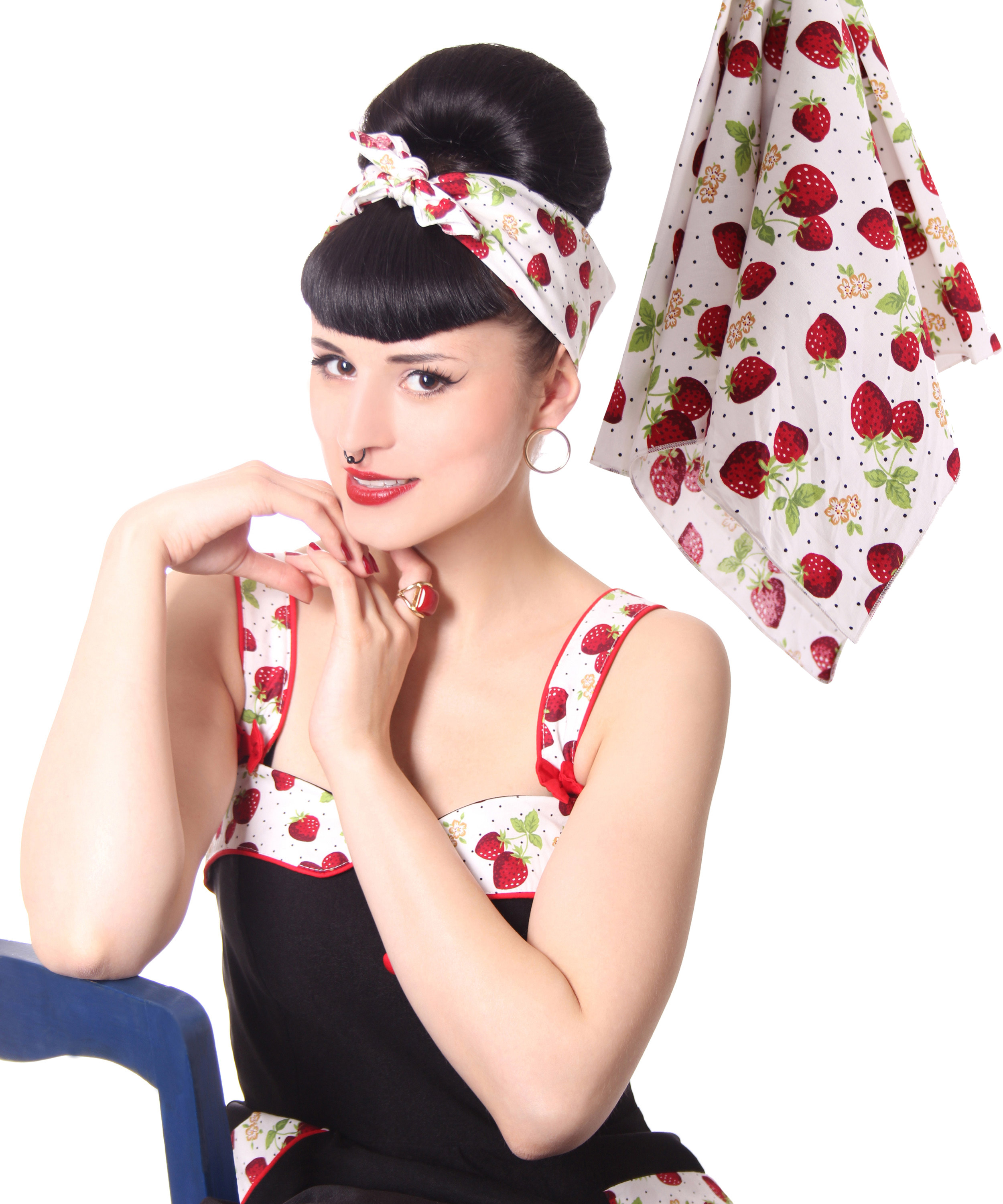 50s frisuren strawberry retro nickituch hairband haar tuch bandana v sugarshock accessoires. Black Bedroom Furniture Sets. Home Design Ideas