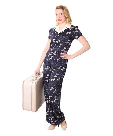 Londa 50er retro Schleifen Jumpsuit Pin Up Bow Playsuit v. SugarShock – Bild 6