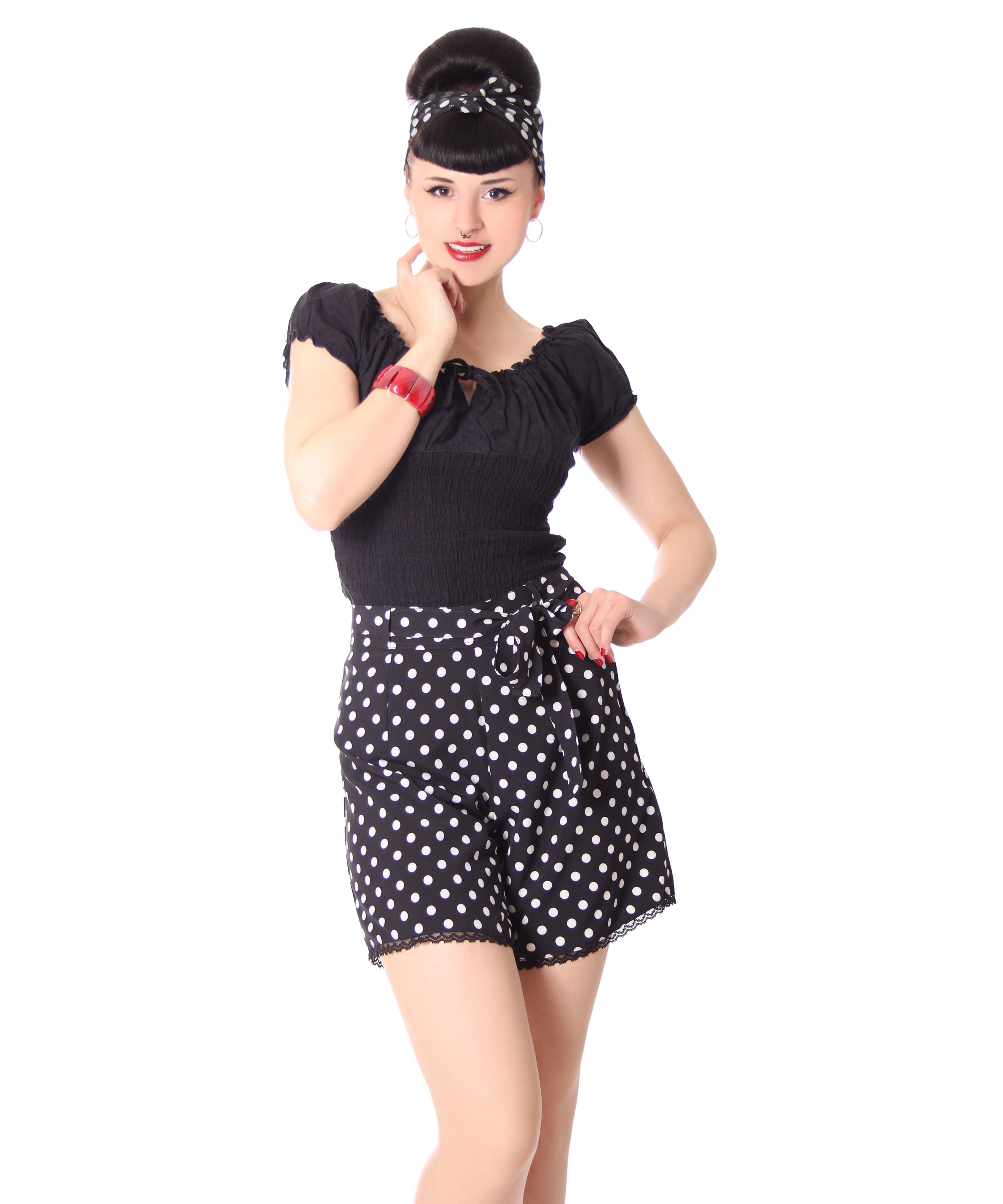laudine 50er jahre retro high waist polka dots sommer. Black Bedroom Furniture Sets. Home Design Ideas