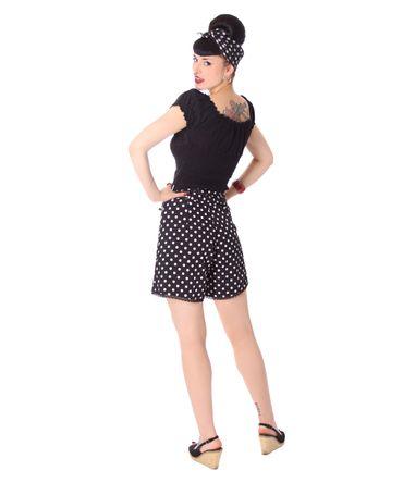 Laudine 50er Jahre retro High Waist Polka Dots Sommer Shorts v. SugarShock – Bild 7