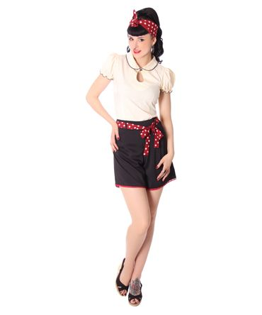 Laudine 50er Jahre retro High Waist Pin Up Sommer Shorts v. SugarShock – Bild 6