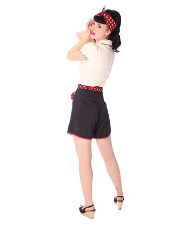 Laudine 50er Jahre retro High Waist Pin Up Sommer Shorts v. SugarShock – Bild 5