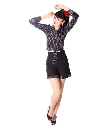 Montai 50er Jahre retro High Waist Pin Up Polka Dots Shorts v. SugarShock – Bild 7