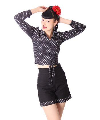 Montai 50er Jahre retro High Waist Pin Up Polka Dots Shorts v. SugarShock – Bild 1