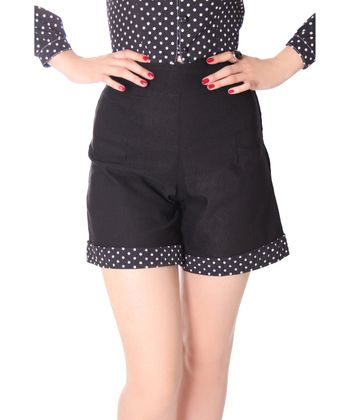Montai 50er Jahre retro High Waist Pin Up Polka Dots Shorts v. SugarShock – Bild 3