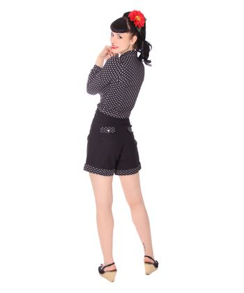Montai 50er Jahre retro High Waist Pin Up Polka Dots Shorts v. SugarShock – Bild 6