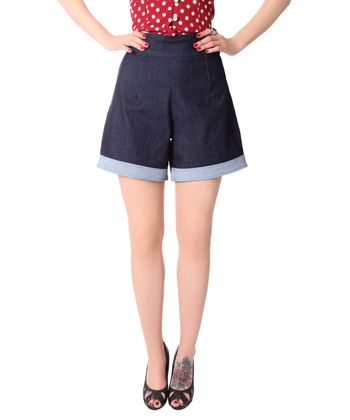 Montai 50er Jahre retro High Waist Pin Up Jeans Shorts v. SugarShock – Bild 3