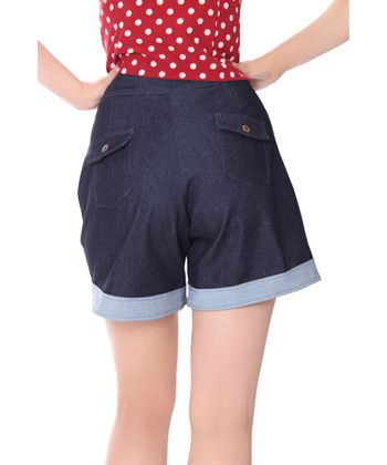 Montai 50er Jahre retro High Waist Pin Up Jeans Shorts v. SugarShock – Bild 4