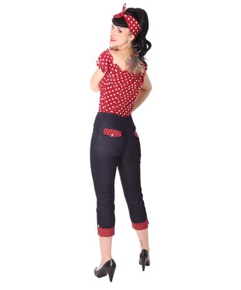 Kalea 50er retro Pin Up High Waist Jeans Polka Dots Caprihose 3/4 Hose v. SugarShock – Bild 6