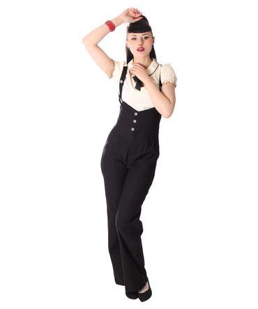 Lorai 30er 40er retro Marlene Suspender High Waist Hosenträger Hose v. SugarShock – Bild 5