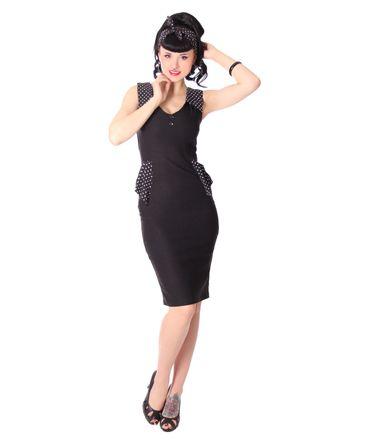 Lorella 50er retro Polka Dots Schößchen Pencil Kleid v. SugarShock