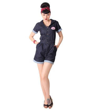 Edessa 50er retro Jeans Denim Overall Pin Up Jumpsuit v. SugarShock – Bild 4