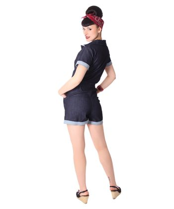 Edessa 50er retro Jeans Denim Overall Pin Up Jumpsuit v. SugarShock – Bild 8