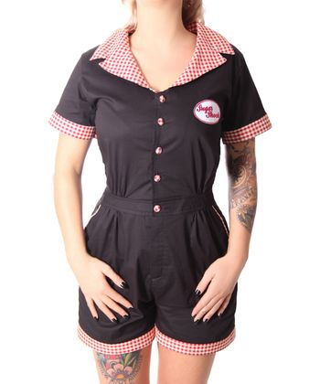 Edessa 50er retro Gingham Overall Pin Up Jumpsuit v. SugarShock – Bild 4