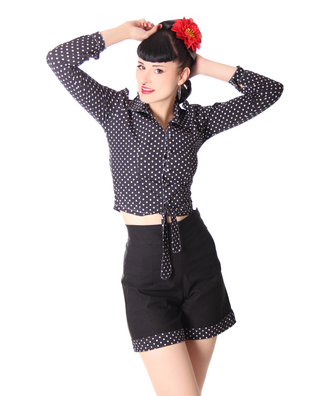 SugarShock Reeva Polka Dots Rockabilly 50er Jahre Pin Up retro Binde Bluse
