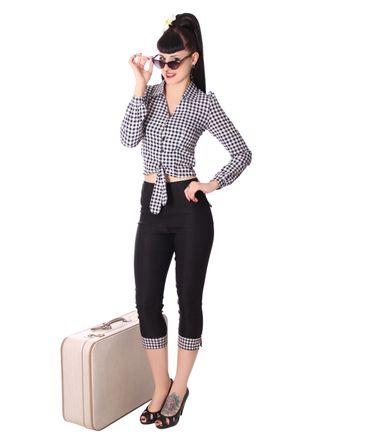Reeva 50s Style Gingham retro Binde Bluse v. SugarShock – Bild 6